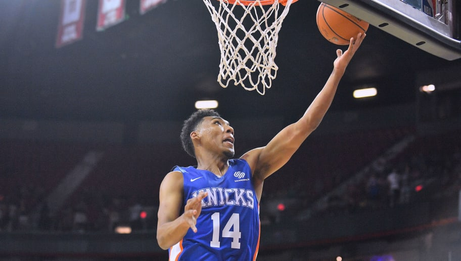 LAS VEGAS, NV - JULY 07:  Allonzo Trier #14 of the New York Knicks scores on a layup against the Atlanta Hawks during the 2018 NBA Summer League at the Thomas & Mack Center on July 7, 2018 in Las Vegas, Nevada. NOTE TO USER: User expressly acknowledges and agrees that, by downloading and or using this photograph, User is consenting to the terms and conditions of the Getty Images License Agreement.  (Photo by Sam Wasson/Getty Images)