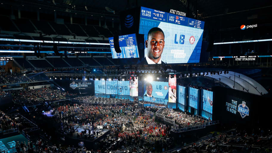 ARLINGTON, TX - APRIL 26:  A video board displays an image of Rashaan Evans of Alabama after he was picked #22 overall by the Tennessee Titans during the first round of the 2018 NFL Draft at AT&T Stadium on April 26, 2018 in Arlington, Texas.  (Photo by Tim Warner/Getty Images)