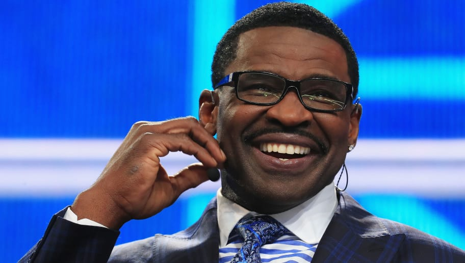 ARLINGTON, TX - APRIL 26:  Pro Football Hall of Famer and NFL Network Analyst Michael Irvin reacts during the first round of the 2018 NFL Draft at AT&T Stadium on April 26, 2018 in Arlington, Texas.  (Photo by Tom Pennington/Getty Images)