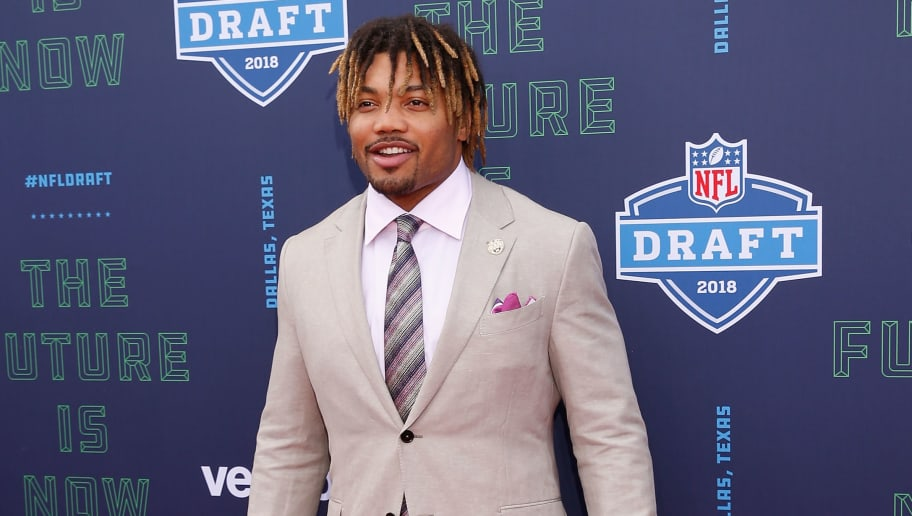 ARLINGTON, TX - APRIL 26:  Derrius Guice of LSU poses on the red carpet prior to the start of the 2018 NFL Draft at AT&T Stadium on April 26, 2018 in Arlington, Texas.  (Photo by Tim Warner/Getty Images)