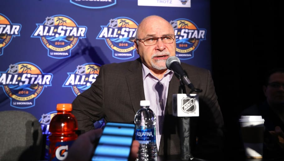 TAMPA, FL - JANUARY 27: Head Coach Barry Trotz of the Washington Capitals addresses media during Media Day for the 2018 NHL All-Star at Grand Hyatt Hotel on January 27, 2018 in Tampa, Florida.  (Photo by Bruce Bennett/Getty Images)