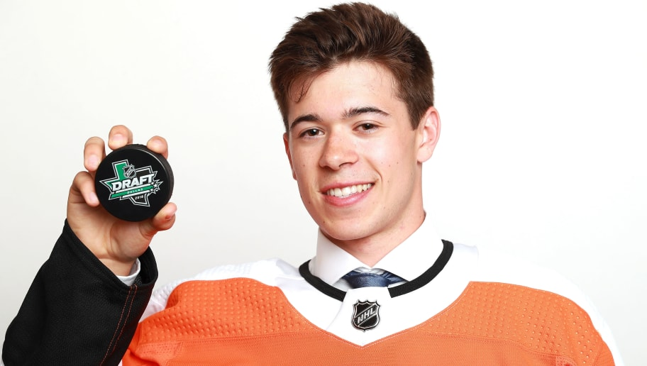 DALLAS, TX - JUNE 22:  Jay O'Brien poses after being selected nineteenth overall by the Philadelphia Flyers during the first round of the 2018 NHL Draft at American Airlines Center on June 22, 2018 in Dallas, Texas.  (Photo by Tom Pennington/Getty Images)