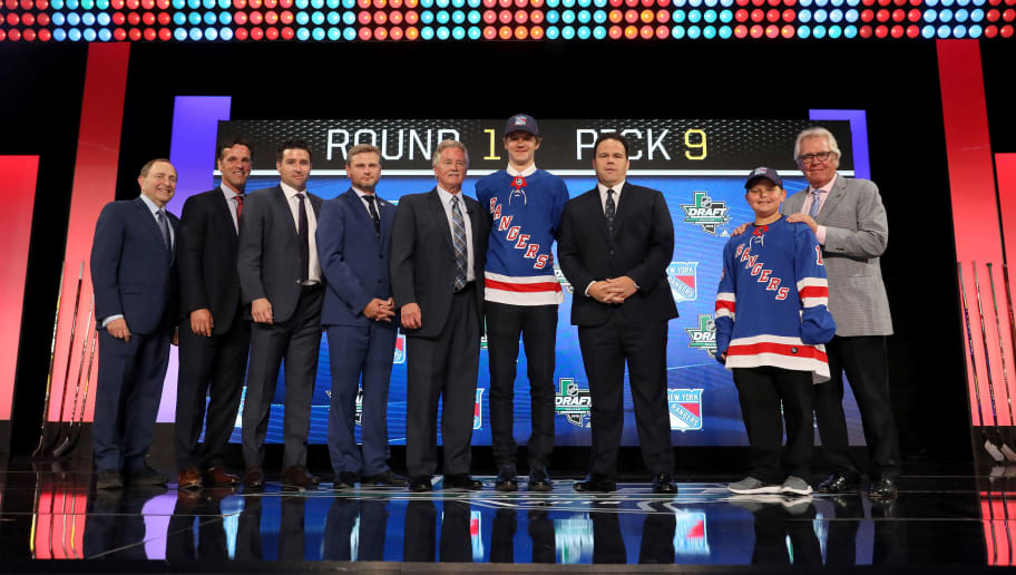 DALLAS, TX - JUNE 22:  Vitali Kravtsov pose after being selected ninth overall by the New York Rangers during the first round of the 2018 NHL Draft at American Airlines Center on June 22, 2018 in Dallas, Texas.  (Photo by Bruce Bennett/Getty Images)