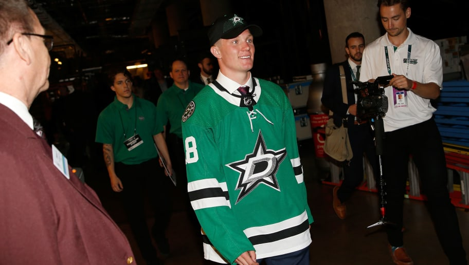 DALLAS, TX - JUNE 22:  Ty Dellandrea walks through the hallway after being selected thirteenth overall by the Dallas Stars during the first round of the 2018 NHL Draft at American Airlines Center on June 22, 2018 in Dallas, Texas.  (Photo by Ron Jenkins/Getty Images)