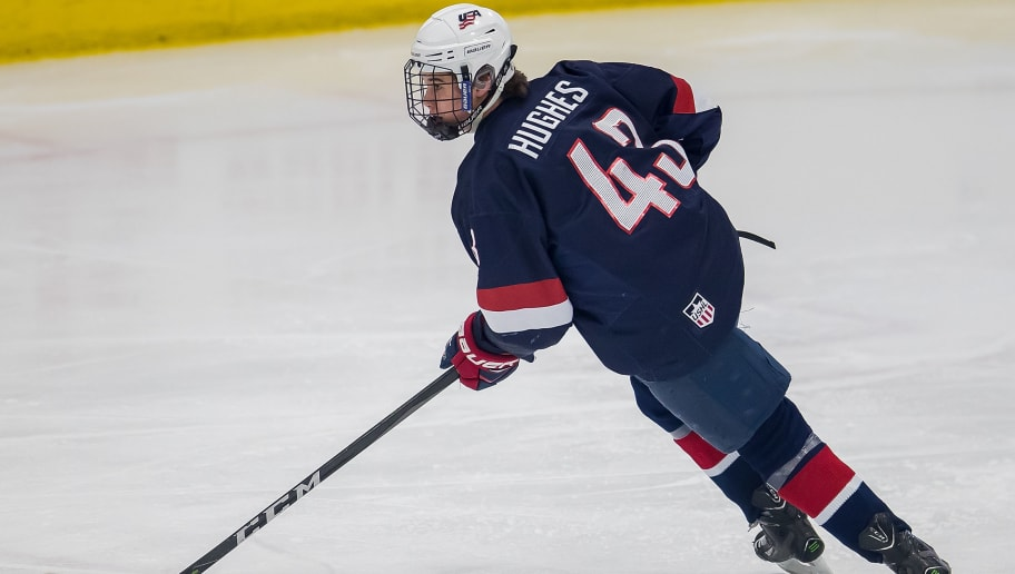 PLYMOUTH, MI - FEBRUARY 14: Jack Hughes #43 of the USA Nationals turns up ice with the puck against the Czech Nationals during the 2018 Under-18 Five Nations Tournament game at USA Hockey Arena on February 14, 2018 in Plymouth, Michigan. The Czech Republic defeated the USA Nationals 6-2. (Photo by Dave Reginek/Getty Images)*** Local Caption *** Jack Hughes