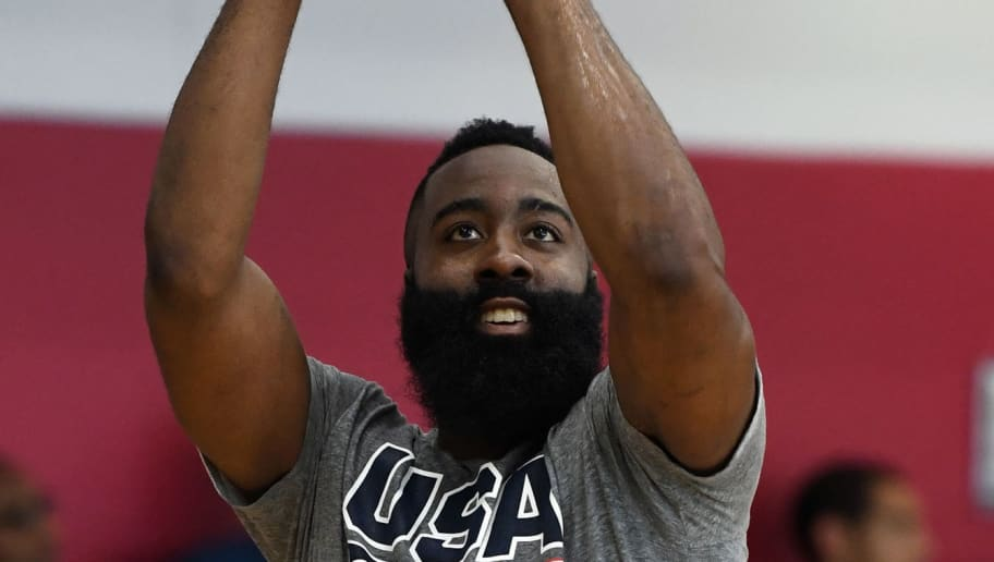 LAS VEGAS, NV - JULY 26:  James Harden #47 of the United States shoots during a practice session at the 2018 USA Basketball Men's National Team minicamp at the Mendenhall Center at UNLV on July 26,  2018 in Las Vegas, Nevada.  (Photo by Ethan Miller/Getty Images)