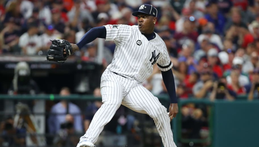 CLEVELAND, OHIO - JULY 09: Aroldis Chapman #54 of the New York Yankees during the 2019 MLB All-Star Game at Progressive Field on July 09, 2019 in Cleveland, Ohio. (Photo by Gregory Shamus/Getty Images)
