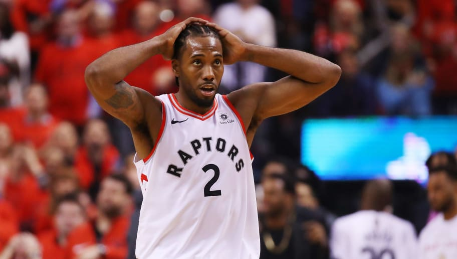 TORONTO, ONTARIO - JUNE 10:  Kawhi Leonard #2 of the Toronto Raptors reacts against the Golden State Warriors in the first half during Game Five of the 2019 NBA Finals at Scotiabank Arena on June 10, 2019 in Toronto, Canada. NOTE TO USER: User expressly acknowledges and agrees that, by downloading and or using this photograph, User is consenting to the terms and conditions of the Getty Images License Agreement. (Photo by Gregory Shamus/Getty Images)