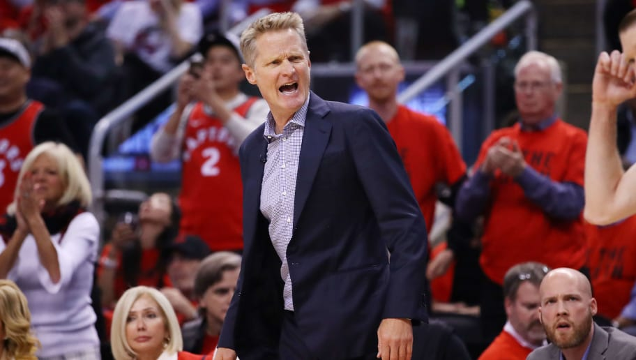 TORONTO, ONTARIO - JUNE 10:  Head coach Steve Kerr of the Golden State Warriors reacts against the Toronto Raptors in the first half during Game Five of the 2019 NBA Finals at Scotiabank Arena on June 10, 2019 in Toronto, Canada. NOTE TO USER: User expressly acknowledges and agrees that, by downloading and or using this photograph, User is consenting to the terms and conditions of the Getty Images License Agreement. (Photo by Gregory Shamus/Getty Images)