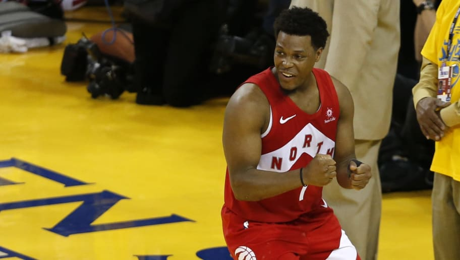 OAKLAND, CALIFORNIA - JUNE 13:  Kyle Lowry #7 of the Toronto Raptors celebrates late in the game against the Golden State Warriors during Game Six of the 2019 NBA Finals at ORACLE Arena on June 13, 2019 in Oakland, California. NOTE TO USER: User expressly acknowledges and agrees that, by downloading and or using this photograph, User is consenting to the terms and conditions of the Getty Images License Agreement. (Photo by Lachlan Cunningham/Getty Images)