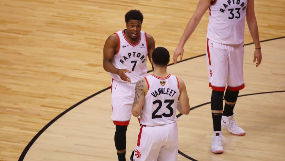 TORONTO, ONTARIO - JUNE 02:  Kyle Lowry #7 and Fred VanVleet #23 of the Toronto Raptors react in the first half against the Golden State Warriors during Game Two of the 2019 NBA Finals at Scotiabank Arena on June 02, 2019 in Toronto, Canada.  NOTE TO USER: User expressly acknowledges and agrees that, by downloading and or using this photograph, User is consenting to the terms and conditions of the Getty Images License Agreement. (Photo by Gregory Shamus/Getty Images)