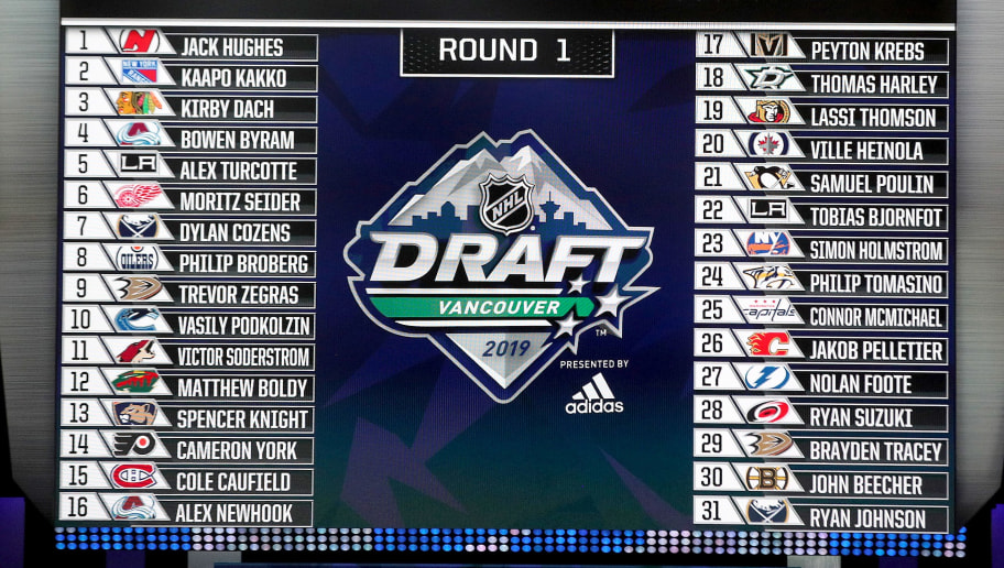 VANCOUVER, BRITISH COLUMBIA - JUNE 21: A detailed view of the Top 31 draft picks on the video board after the first round of the 2019 NHL Draft at Rogers Arena on June 21, 2019 in Vancouver, Canada. (Photo by Bruce Bennett/Getty Images)
