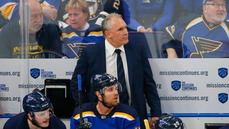 ST LOUIS, MISSOURI - JUNE 01:  Head coach Craig Berube of the St. Louis Blues looks on against the Boston Bruins during the first period in Game Three of the 2019 NHL Stanley Cup Final at Enterprise Center on June 01, 2019 in St Louis, Missouri. (Photo by Dilip Vishwanat/Getty Images)