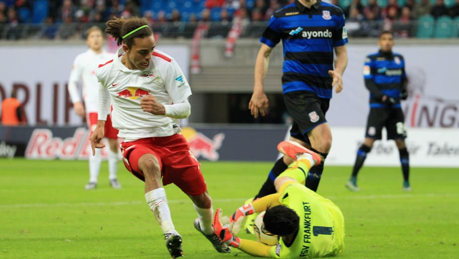LEIPZIG, GERMANY - DECEMBER 13:  Yussuf Poulsen of Leipzig challenges Goalkeeper Andre Weis of Frankfurt during the Second Bundesliga match between RB Leipzig and FSV Frankfurt at Red Bull Arena on December 13, 2015 in Leipzig, Germany.  (Photo by Karina Hessland/Bongarts/Getty Images)