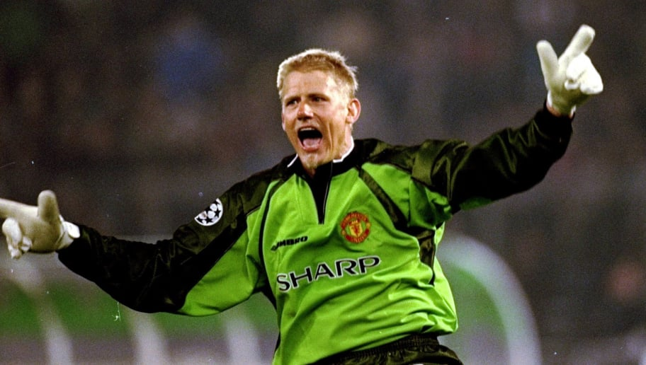 21 Apr 1999:  Manchester United keeper Peter Schmeichel celebrates a goal in the UEFA Champions League semi-final second leg match against Juventus at the Stadio delle Alpi in Turin, Italy. United won 3-2 on the night to go through 4-3 on aggregate. \ Mandatory Credit: Allsport UK /Allsport
