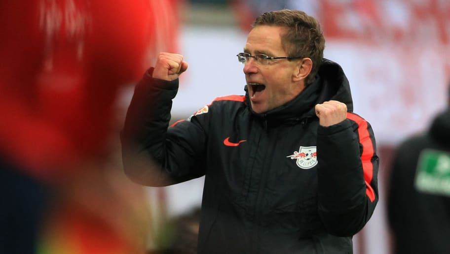 LEIPZIG, GERMANY - DECEMBER 13:  Headcoach Ralf Rangnick of Leipzig celebrates the victory during the Second League match between RB Leipzig and FSV Frankfurt at Red Bull Arena on December 13, 2015 in Leipzig, Germany.  (Photo by Karina Hessland/Bongarts/Getty Images)