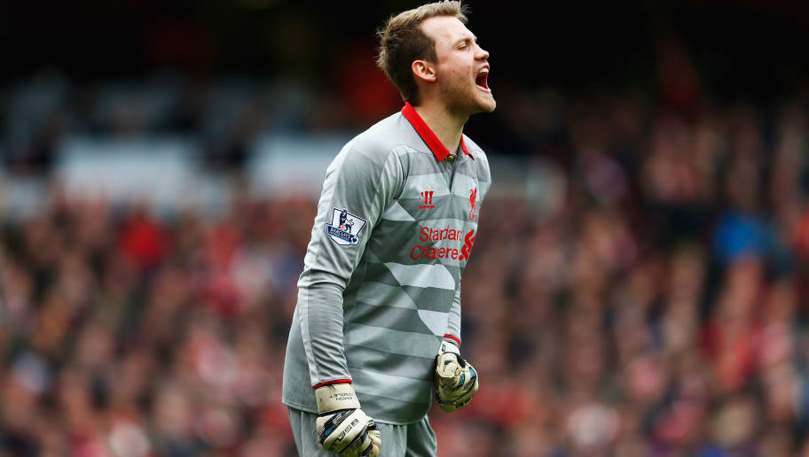 LONDON, ENGLAND - APRIL 04:  Simon Mignolet of Liverpool shouts during the Barclays Premier League match between Arsenal and Liverpool at Emirates Stadium on April 4, 2015 in London, England.  (Photo by Julian Finney/Getty Images)