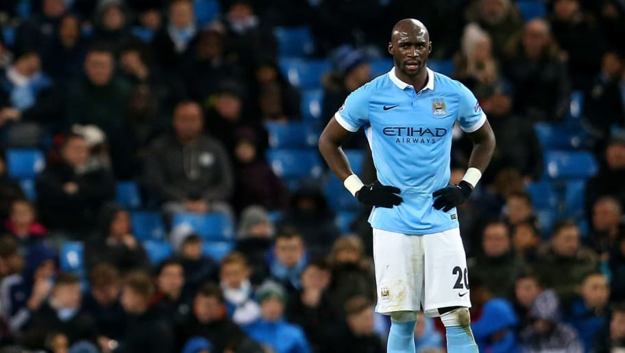 MANCHESTER, ENGLAND - DECEMBER 08:  (L-R) Fernandinho, Yaya Toure and Eliaquim Mangala of Manchester City stand dejected after conceding a second goal during the UEFA Champions League Group D match between Manchester City and Borussia Monchengladbach at Etihad Stadium on December 8, 2015 in Manchester, United Kingdom.  (Photo by Alex Livesey/Getty Images)