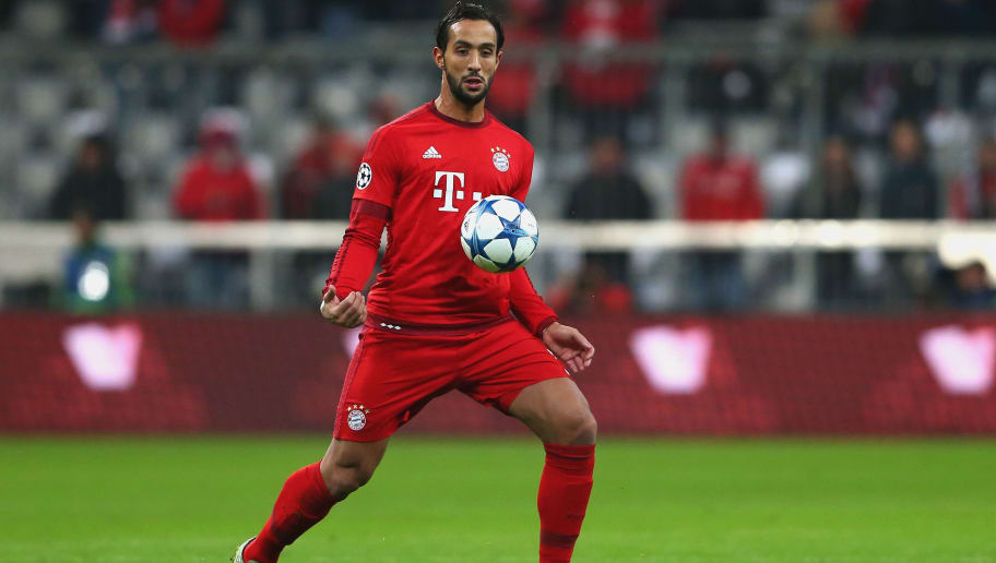MUNICH, GERMANY - NOVEMBER 24:  Medhi Benatia of Muenchen runs with the ball during the UEFA Champions League Group F match between FC Bayern Muenchen and Olympiacos FC at Allianz Arena on November 24, 2015 in Munich, Germany.  (Photo by Alexander Hassenstein/Bongarts/Getty Images)