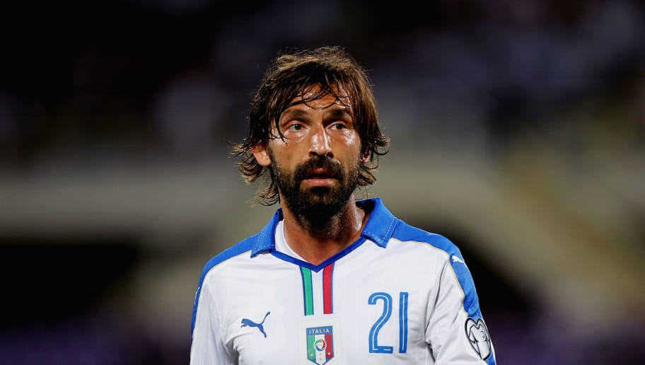 FLORENCE, ITALY - SEPTEMBER 03:  Andrea Pirlo of Italy looks on during the UEFA EURO 2016 qualifier between Italy and Malta on September 3, 2015 in Florence, Italy.  (Photo by Paolo Bruno/Getty Images)