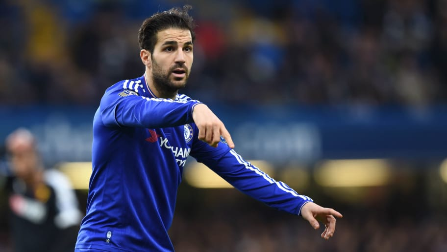 Chelsea's Spanish midfielder Cesc Fabregas gestures during the English Premier League football match between Chelsea and Watford at Stamford Bridge in London on December 26, 2015. AFP PHOTO / OLLY GREENWOOD  RESTRICTED TO EDITORIAL USE. NO USE WITH UNAUTHORIZED AUDIO, VIDEO, DATA, FIXTURE LISTS, CLUB/LEAGUE LOGOS OR 'LIVE' SERVICES. ONLINE IN-MATCH USE LIMITED TO 75 IMAGES, NO VIDEO EMULATION. NO USE IN BETTING, GAMES OR SINGLE CLUB/LEAGUE/PLAYER PUBLICATIONS. / AFP / OLLY GREENWOOD        (Photo credit should read OLLY GREENWOOD/AFP/Getty Images)