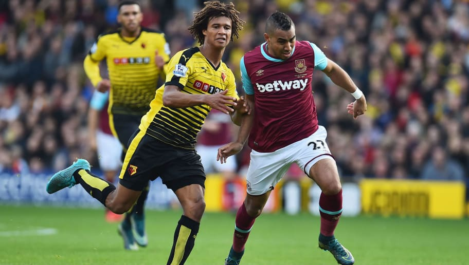 WATFORD, ENGLAND - OCTOBER 31: Dimitri Payet of West Ham United and Nathan Ake of Watford compete for the ball during the Barclays Premier League match between Watford and West Ham United at Vicarage Road on October 31, 2015 in Watford, England.  (Photo by Justin Setterfield/Getty Images)