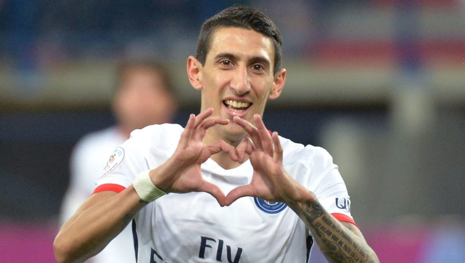Paris Saint-Germain's Argentinian forward Angel Di Maria celebrates after scoring a goal during the French L1 football match between Caen (SMC) and Paris Saint-Germain (PSG) on December 19, 2015, at the Michel d'Ornano stadium in Caen, northwestern France. AFP PHOTO / JEAN-FRANCOIS MONIER / AFP / JEAN-FRANCOIS MONIER        (Photo credit should read JEAN-FRANCOIS MONIER/AFP/Getty Images)