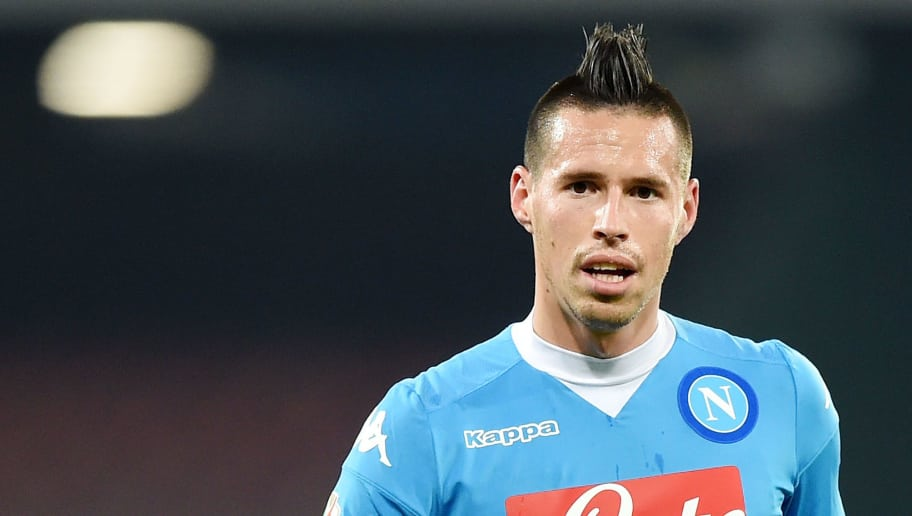 NAPLES, ITALY - DECEMBER 16:  Marek Hamsik of Napoli in action the TIM Cup match between SSC Napoli and Hellas Verona FC at Stadio San Paolo on December 16, 2015 in Naples, Italy.  (Photo by Francesco Pecoraro/Getty Images)