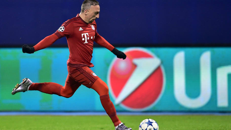 Bayern Munich's French midfielder Franck Ribery controls the ball during UEFA Champions League football match between Dinamo Zagreb v Bayern Munich at the Maksimir stadium in Zagreb on December 9, 2015. AFP PHOTO / ANDREJ ISAKOVIC / AFP / ANDREJ ISAKOVIC        (Photo credit should read ANDREJ ISAKOVIC/AFP/Getty Images)