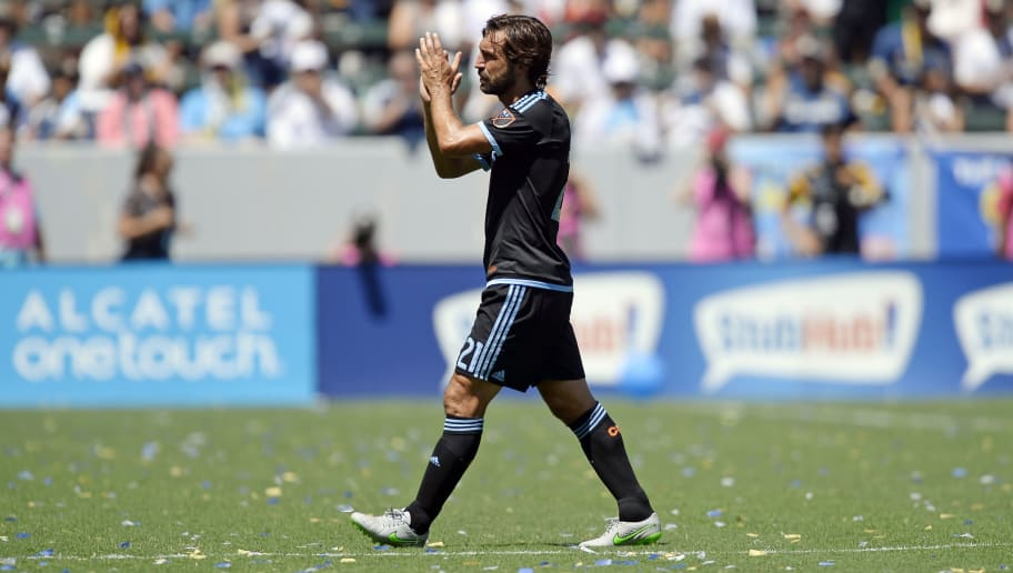 CARSON, CA - AUGUST 23: Andrea Pirlo #21 of New York City FC is substituted during the second half against of Los Angeles Galaxy at StubHub Center August 23, 2015, in Carson, California. (Photo by Kevork Djansezian/Getty Images)