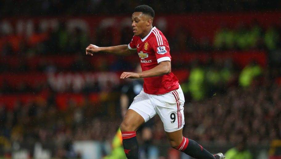 MANCHESTER, ENGLAND - JANUARY 02:  Anthony Martial of Manchester United during the Barclays Premier League match between Manchester United and Swansea City at Old Trafford on January 2, 2016 in Manchester, England.  (Photo by Alex Livesey/Getty Images)