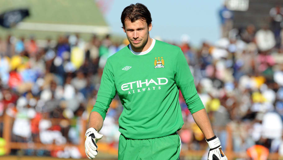 POLOKWANE, SOUTH AFRICA - JULY 18: Stuart Taylor of Manchester City looks on during the 2009 Vodacom Challenge match between Orlando Pirates and Manchester City from Peter Mokaba Stadium on July 18, 2009 in Polokwane, South Africa. (Photo by Lefty Shivambu/Gallo Images/Getty Images)