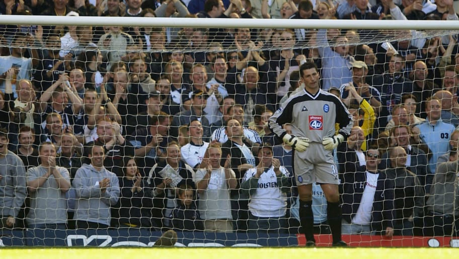 LONDON - APRIL 5:  Andy Marriott the Birmingham keeper looks on dejected after his mistake led to the first goal during the Barclaycard Premiership match between Tottenham Hotspur and Birmingham City at White Hart Lane in Tottenham, London, on April 5, 2003. (Photo by Tom Shaw/Getty Images)