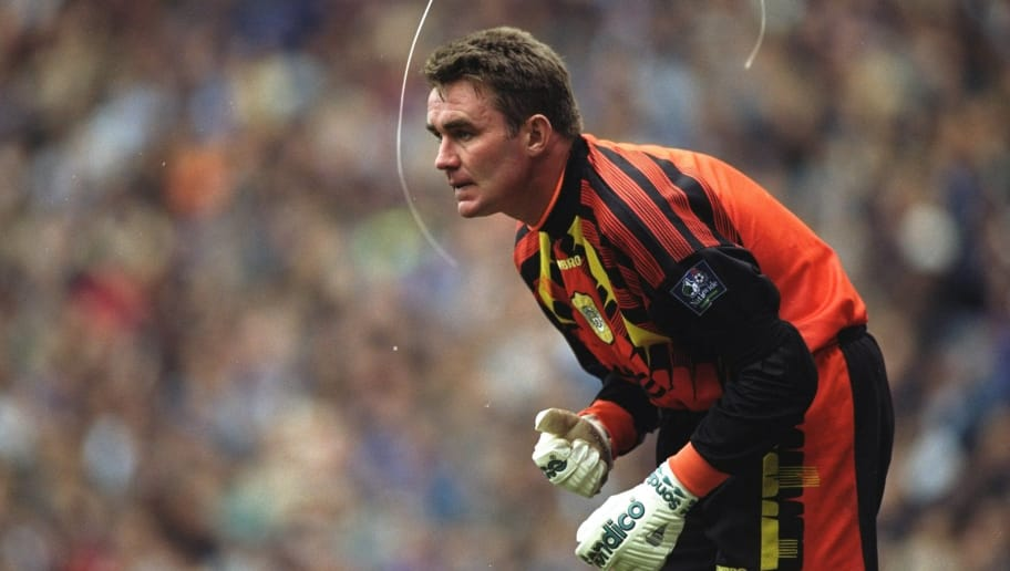 26 Oct 1996:  Portrait of Manchester City goalkeeper Andy Dibble during the Nationwide League Division One match against Wolverhampton Wanderers at Maine Road in Manchester, England. Wolverhampton Wanderers won the match 1-0. \ Mandatory Credit: Graham  Chadwick/Allsport