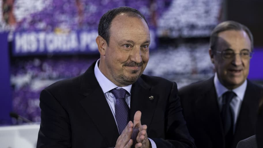 MADRID, SPAIN - JUNE 03:  New Real Madrid head coach Rafael Benitez (L) rubs his hands ahead president Florentino Perez  (R) after his presentation at Santiago Bernabeu stadium on June 3, 2015 in Madrid, Spain.  (Photo by Gonzalo Arroyo Moreno/Getty Images)