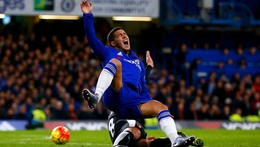 LONDON, ENGLAND - DECEMBER 26:  Valon Berami of Watford fouls Eden Hazard of Chelsea and concedes a penalty during the Barclays Premier League match between Chelsea and Watford at Stamford Bridge on December 26, 2015 in London, England.  (Photo by Clive Rose/Getty Images)