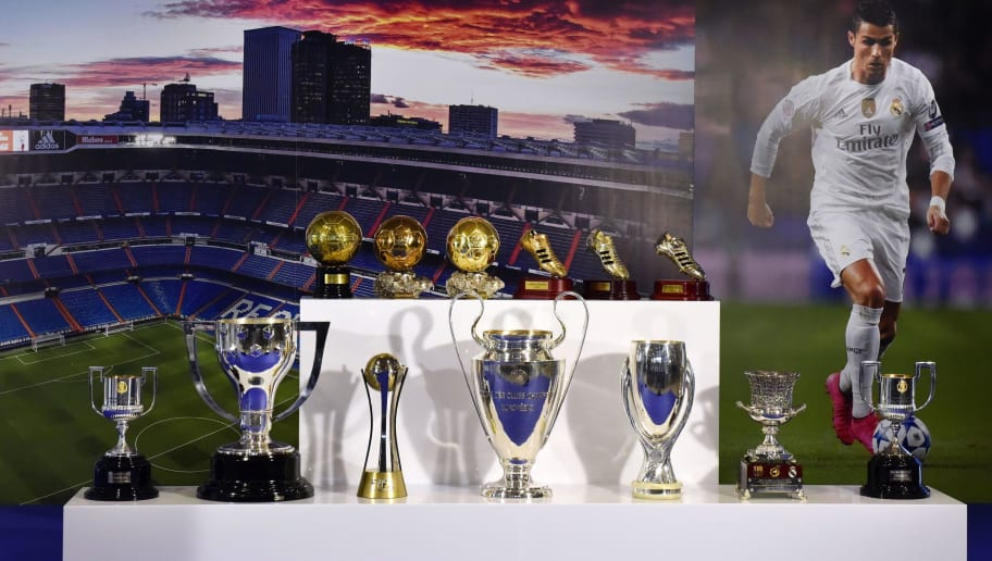 Picture shows all the trophies got by Real Madrid's Portuguese forward Cristiano Ronaldo at the Santiago Bernabeu stadium in Madrid on October 2, 2015. Cristiano Ronaldo surpassed 500 career goals and tied Raul as Real Madrid's all-time leading scorer with a double in the Spanish giants 2-0 win away at Malmo on September 30, 2015. AFP PHOTO / GERARD JULIEN        (Photo credit should read GERARD JULIEN/AFP/Getty Images)