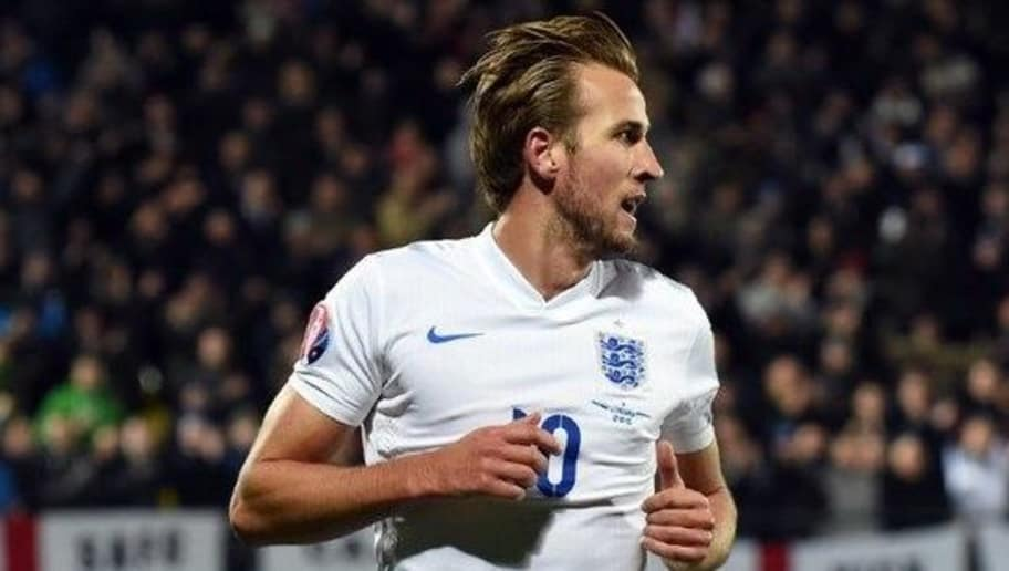 England's Harry Kane reacts after scoring a goal  during the Euro 2016 Group E qualifying football match between Lithuania and England at LFF stadium in Vilnius on October 12, 2015