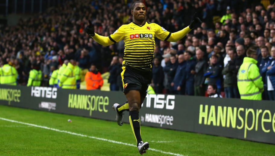 WATFORD, ENGLAND - DECEMBER 28:  Odion Ighalo (R) of Watford celebrates scoring his team's first goal during the Barclays Premier League match between Watford and Tottenham Hotspur at Vicarage Road on December 28, 2015 in Watford, England.  (Photo by Richard Heathcote/Getty Images)