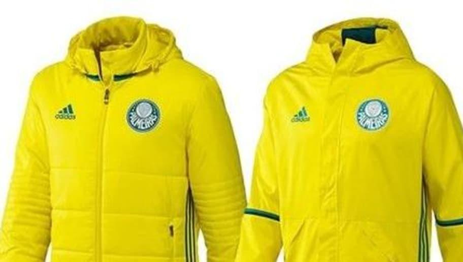 O amarelo é predominante na nova linha de uniformes da comissão técnica e  jogadores do Palmeiras. A tradicional capa de chuva tem detalhes em verde e  ... 3c6e1b3f627ab