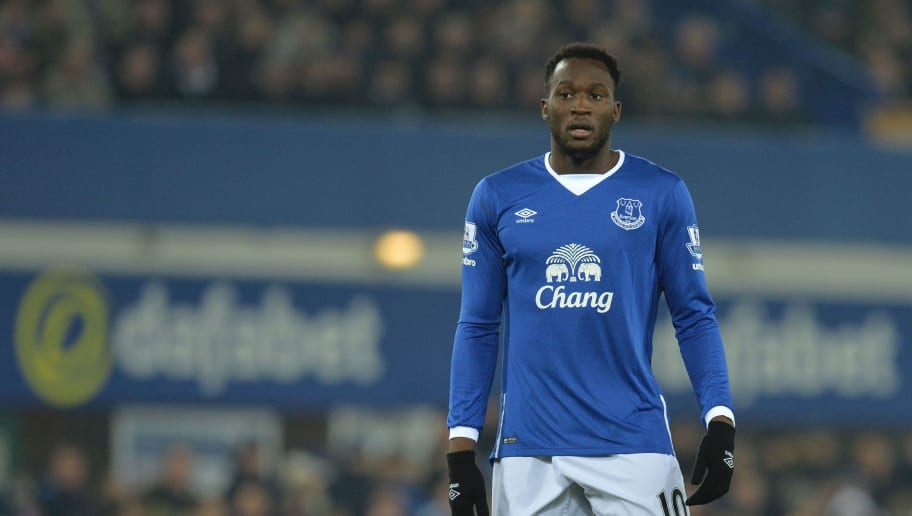 Everton's Belgian striker Romelu Lukaku is seen during the English League Cup semi-final first leg football match between Everton and Manchester City at Goodison Park in Liverpool, north west England on January 6, 2016. AFP PHOTO / PAUL ELLIS  RESTRICTED TO EDITORIAL USE. No use with unauthorized audio, video, data, fixture lists, club/league logos or 'live' services. Online in-match use limited to 75 images, no video emulation. No use in betting, games or single club/league/player publications. / AFP / PAUL ELLIS        (Photo credit should read PAUL ELLIS/AFP/Getty Images)