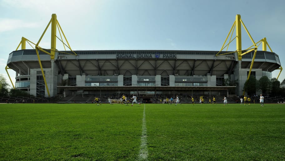 DORTMUND, GERMANY - APRIL 28: A general overview of Stadion Rote Erde in front of the Signal Iduna Park in Dortmund during the Regionalliga West match between Borussia Dortmund II and Borussia Moenchengladbach II at Stadion Rote Erde on April 28, 2012 in Dortmund, Germany.  (Photo by Bongarts/Getty Images)