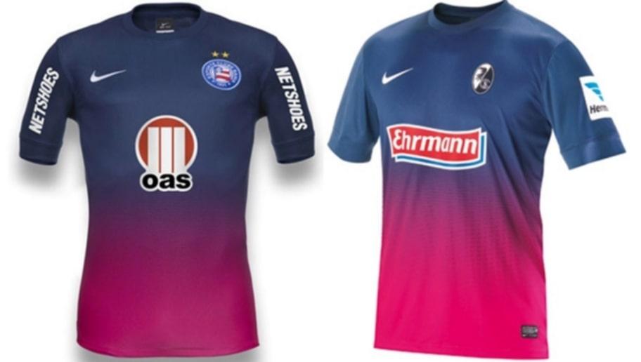 b4947f65e3c9e  O Bahia (esquerda) lançou um terceiro uniforme em 2013 que é igual a camisa  do Freiburg em 2012