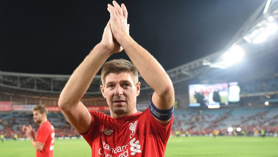 Former Liverpool football star Steven Gerrard applauds the fans after playing for Liverpool Legends against Australian Legends in an exhibition football game at the ANZ Stadium in Sydney on January 7, 2016. AFP PHOTO / Peter PARKS    IMAGE STRICTLY FOR EDITORIAL USE - STRICTLY NO COMMERCIAL USE / AFP / PETER PARKS        (Photo credit should read PETER PARKS/AFP/Getty Images)