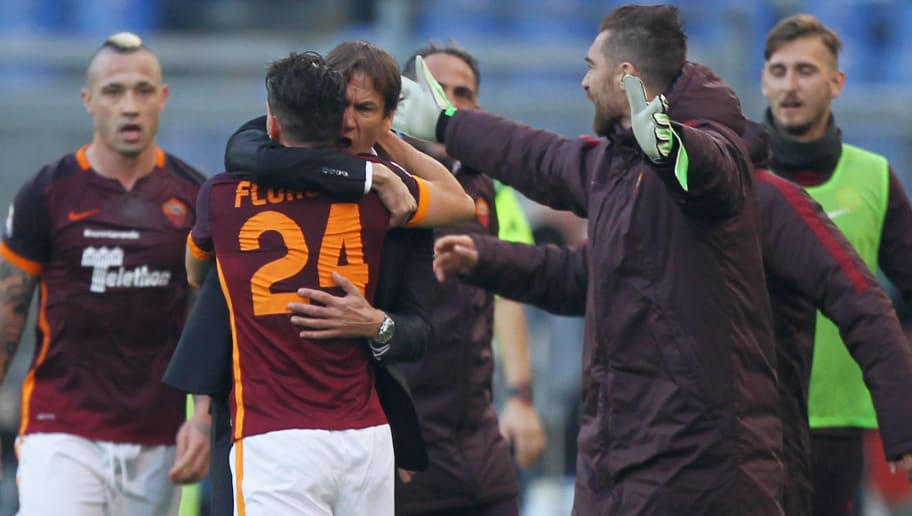 ROME, ITALY - DECEMBER 20:  Alessandro Florenzi (L) with his head coach Rudi Garcia of AS Roma  celebrates after scoring the opening goal during the Serie A match between AS Roma and Genoa CFC at Stadio Olimpico on December 20, 2015 in Rome, Italy.  (Photo by Paolo Bruno/Getty Images)