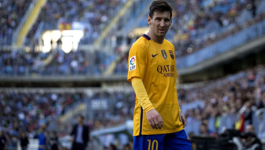 MALAGA, SPAIN - JANUARY 23:  Lionel Messi of FC Barcelona looks on during the La Liga match between Malaga CF and FC Barcelona at La Rosaleda Stadium on January 23, 2016 in Malaga, Spain.  (Photo by Gonzalo Arroyo Moreno/Getty Images)