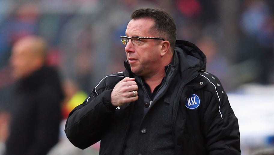 KARLSRUHE, GERMANY - JANUARY 16: Head coach Markus Kauczinski of Karlsruhe reacts during a friendly match between Karlsruher SC and FC Bayern Muenchen at Wildpark Stadium on January 16, 2016 in Karlsruhe, Germany.  (Photo by Alex Grimm/Bongarts/Getty Images)