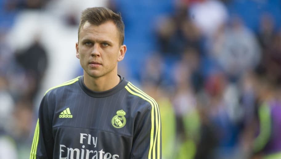 Real Madrid's Russian midfielder Denis Cheryshev warms up before the Spanish league football match Real Madrid CF vs Getafe CF at the Santiago Bernabeu stadium in Madrid on December 5, 2015. AFP PHOTO / CURTO DE LA TORRE / AFP / CURTO DE LA TORRE        (Photo credit should read CURTO DE LA TORRE/AFP/Getty Images)