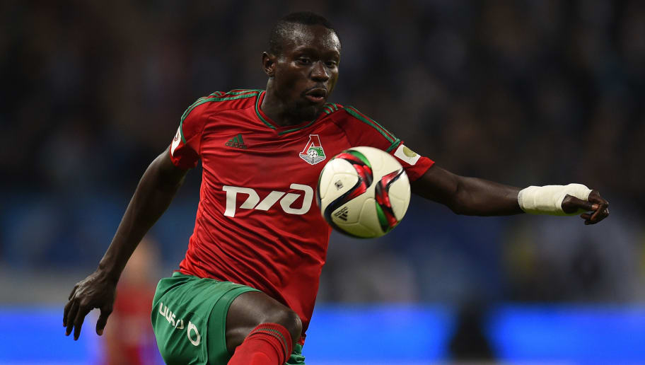 MOSCOW, RUSSIA - NOVEMBER 08: Baye Oumar Niasse of FC Lokomotiv Moscow in action during the Russian Premier League match between FC Lokomotiv Moscow and FC Zenit St. Petersburg at Lokomotiv Stadium on November 08, 2015 in Moscow, Russia. (Photo by Epsilon/Getty Images)