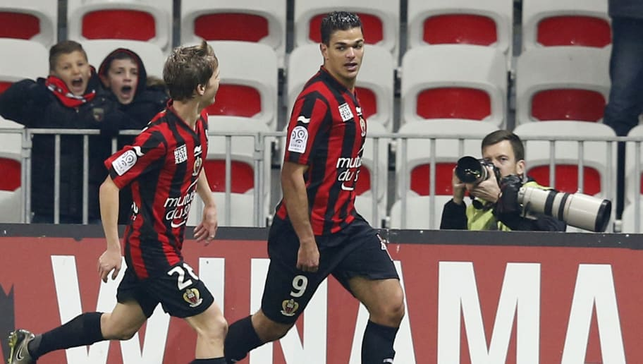 Nice's French forward Hatem Ben Arfa (R) celebrates after scoring a goal during the French L1 football match Nice (OGC Nice) vs Lorient (FCL) on January 23, 2016 at the 'Allianz Riviera' stadium in Nice, southeastern France.  AFP PHOTO / VALERY HACHE / AFP / VALERY HACHE        (Photo credit should read VALERY HACHE/AFP/Getty Images)